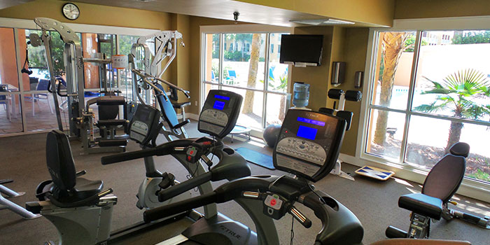 The fitness room and gym at Kiva Dunes in Gulf Shores, AL