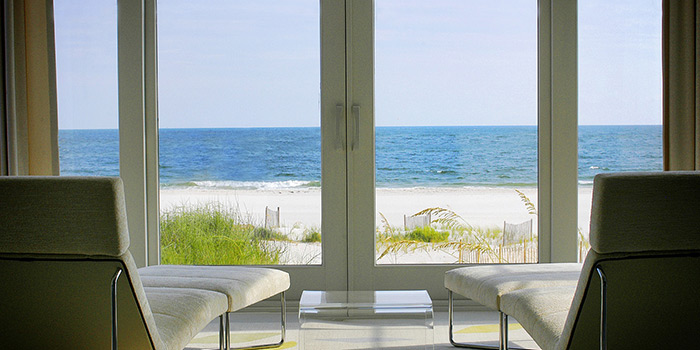 view of the beach inside the house