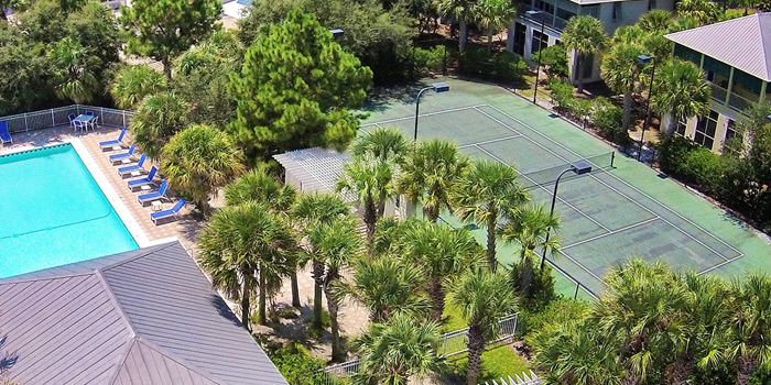 Aerial view of the kiva dunes tennis court